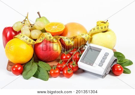 Blood Pressure Monitor, Fruits With Vegetables And Tape Measure, Healthy Lifestyle Concept
