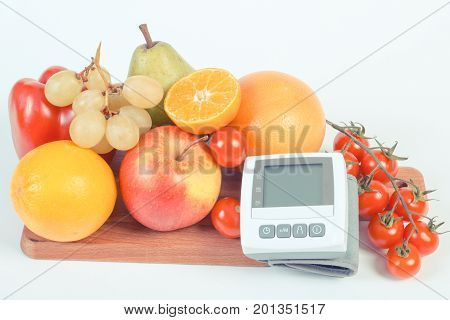 Vintage Photo, Blood Pressure Monitor With Fresh Fruits And Vegetables, Healthy Lifestyle