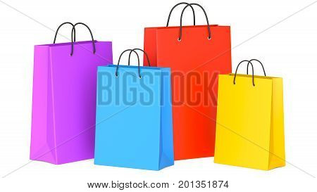 Set of Colorful Empty Shopping Bags 3d illustration. 3D render isolated on white background.