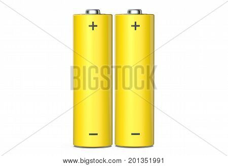 Pair of AA Alkaline batteries isolated on white background 3D render.