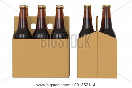 Six brown beer bottles in white corton pack. Side view and front view. 3D render isolated on white background