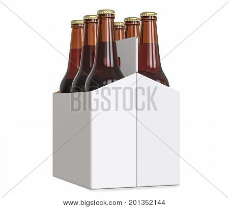 Six-pack cardboard carrier bottles of beer. 3D render isolated on white background