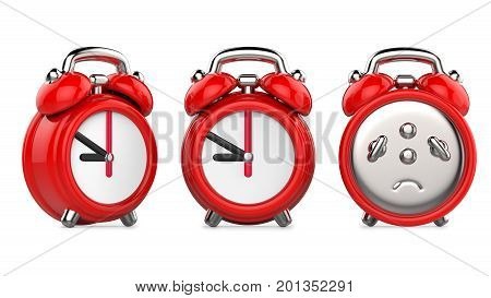 Three views of carttom red alarm clock. 3d Illustration isolated on white background