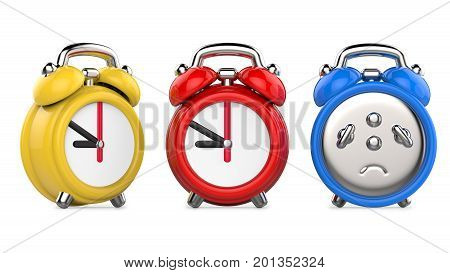Three colorful red blue yellow alarm clocks. 3d Illustration isolated on white background