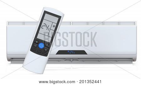 Split system air conditioner and remote controller. 3D render isolated on white background