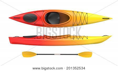 Set of two views plastic kayak yellow-red fire color withe oar. 3D render isolated on white background