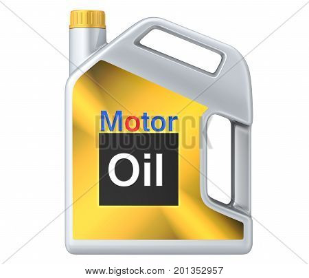 Can of motor oil. 3D render, isolated on white background.