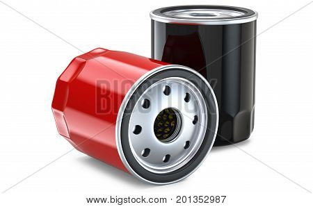 Red and black automobile oil filter.3D render, isolated on white background