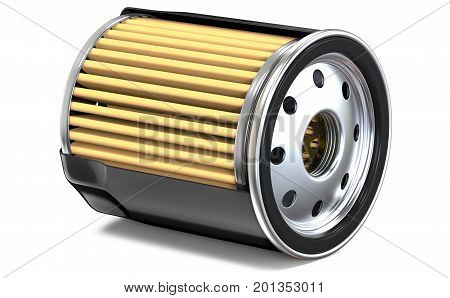OIL FILTER HALF CUT. 3D render, isolated on white background.