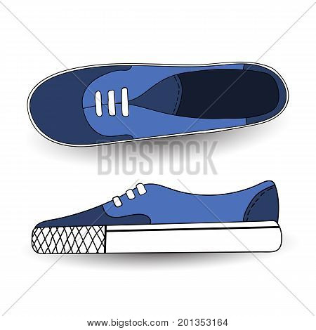 Vector illustration of hand drawn, drawing, blue sport shoes for tennis, trainers, sneakers. Casual style. Doodle design, element for logo
