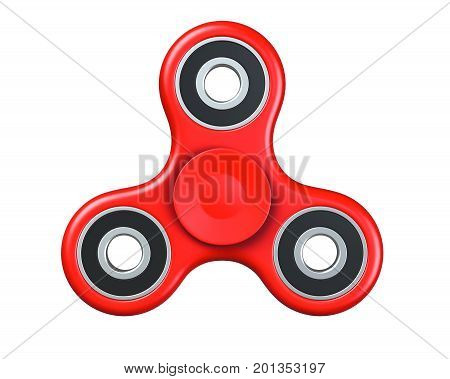 Red fidget finger spinner stress, anxiety relief toy. 3D render, isolated on white background