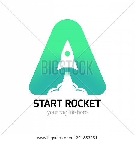 Vertical Start Up Rocket Creative Logo Vector
