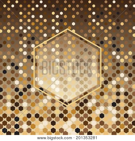 Hexagon gold halftone abstract background stock vector