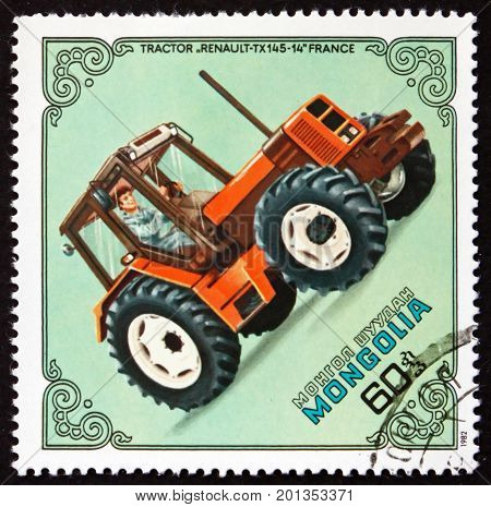 MONGOLIA - CIRCA 1982: a stamp printed in Mongolia shows Tractor Renault TX-145-14 France circa 1982