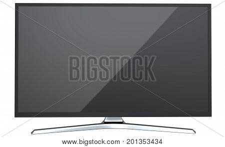 Frontal view of TV or computer PC monitor display led or lcd, isolated on white background 3d render