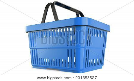 Plastic blue shopping basket. 3D model. 3D render, isolated on white background.
