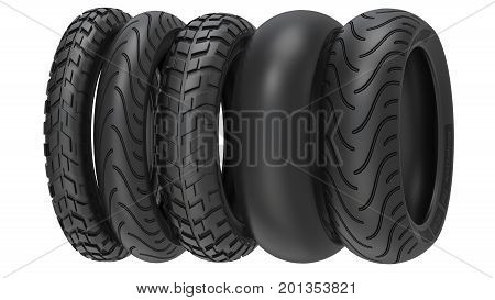 Motorcycle tyres ot tire tread. 3d illustration. 3D render, isolated on white background.