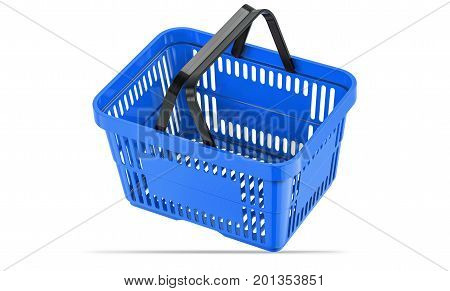 Falling blue empty shopping basket. 3d illustration. 3D render, isolated on white background.