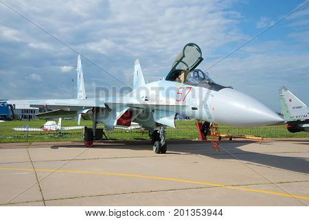 ZHUKOVSKY, RUSSIA - JULY 20, 2017: Russian multifunctional Su-35S fighter close-up. MAKS-2017 Air Show