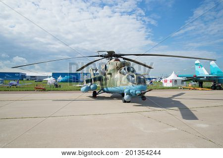 ZHUKOVSKY, RUSSIA - JULY 20, 2017: multi-purpose attack helicopter Mi-35M (Crocodile) on the air show MAKS-2017