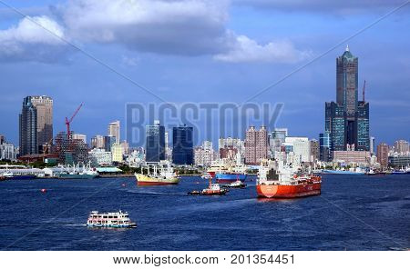 Kaohsiung Port With Many Ships