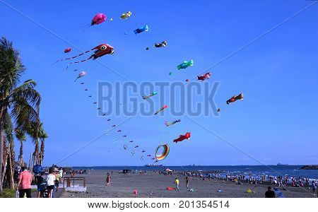 Colorful Kites During Beach Festival