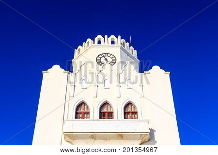 Architecture details of cornice Kos Police Station Greece.
