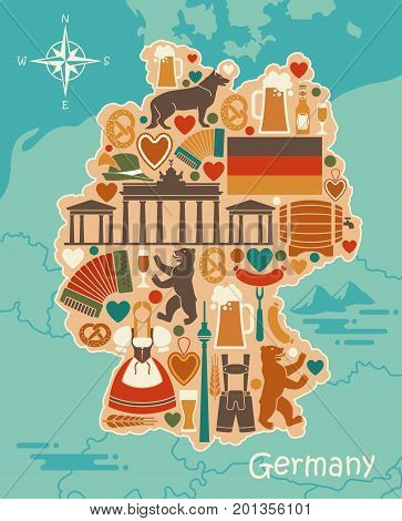 Map of Germany with icons. Traditional symbols of culture, architecture and cuisine of Germany