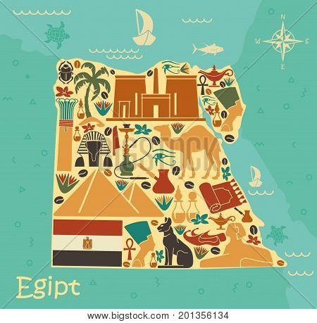 A stylized map of Egypt traditional architectural and cultural symbols