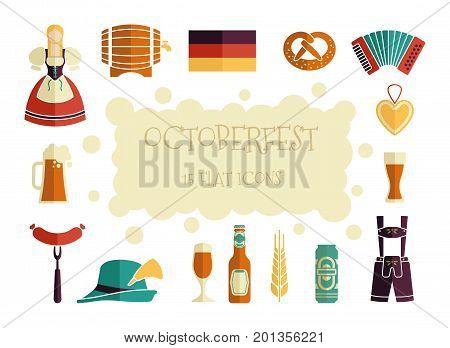 Octoberfest icon set. German food and beer symbols. Vector illustration.