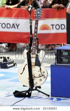 NEW YORK - MAY 28: Gibson guitar used by OneRepublic band while performing at Rockefeller Plaza for the TODAY show on May 28, 2010 in New York City.