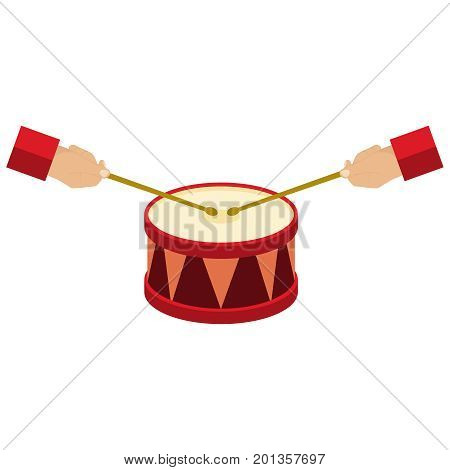 Play the drum, hands hold the drumsticks, the drum icon. Flat design, vector illustration, vector.
