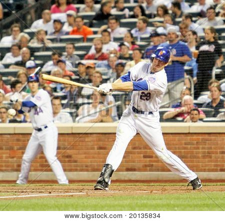 Flushing - June 23: New York Mets Rightfielder Ike Davis Bats Against The Detroit Tigers On Jun