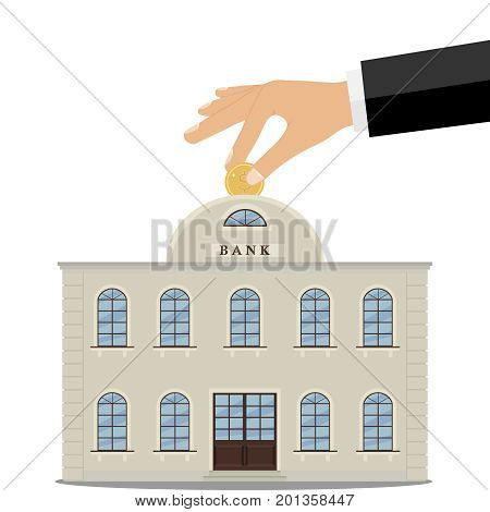 The hand puts a coin into the bank, investing money. Flat design, vector illustration, vector.