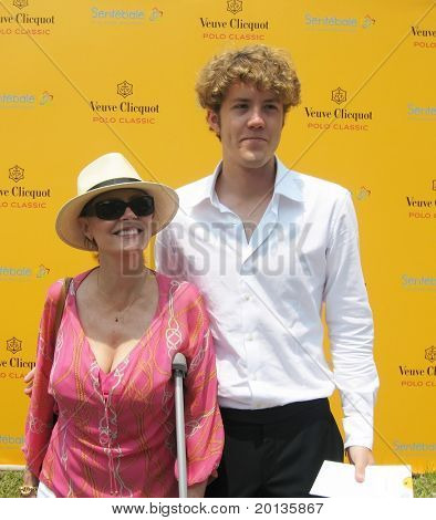 NEW YORK - JUNE 26: Actress Susan Sarandon and her son attend the Veuve Clicquot Polo Classic at Governor's Island on June 26, 2010 in New York City.