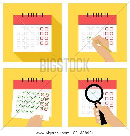 Calendar, tear-off calendar, put the date in the calendar. Flat design, vector illustration, vector.