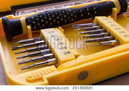 Mechanical bit tool set in yellow box