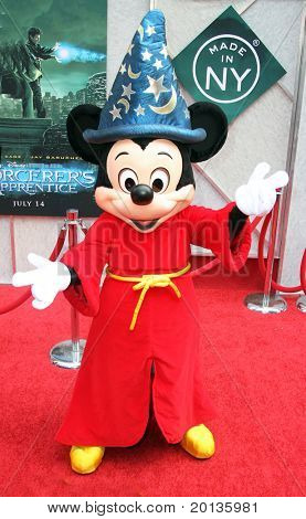 """NEW YORK - JULY 6: Mickey Mouse appears at the premiere of """"The Sorcerer's Apprentice"""" at the New Amsterdam Theatre on July 6, 2010 in New York City."""