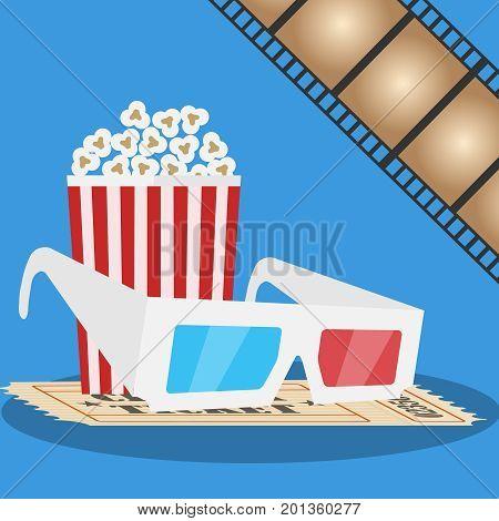 Banner movie. 3D glasses, popcorn, film. Production of the film. Flat design, vector illustration, vector.