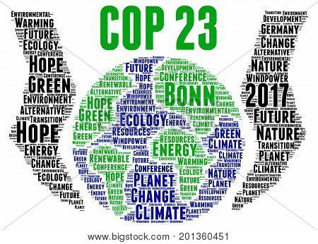 COP 23 in Bonn, Germany illustration with a white background