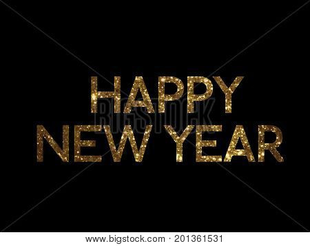 Golden Glitter Isolated Standard Serif Font Word Happy New Year