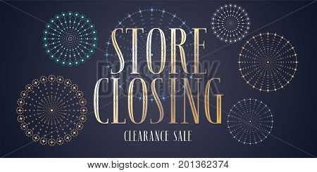 Store closing sale vector illustration background. Template design banner for clearance sale in stock