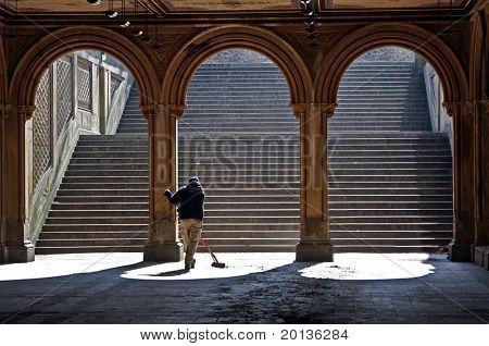Archway that leads to Bethesda Fountain in Central Park, NY.