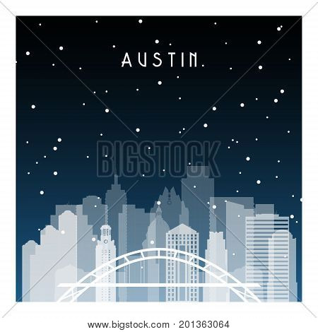 Austin night in Zurich. Night city in flat style for banner poster illustration game background.