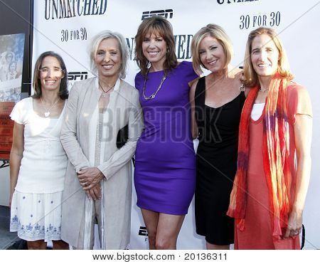 NEW YORK - AUGUST 26: Lisa Lax, Martina Navratilova, Hannah Storm, Chris Evert and Nancy Stern Winters attend ESPN Films'