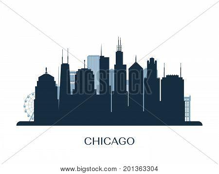 Chicago skyline monochrome silhouette. Design vector illustration.