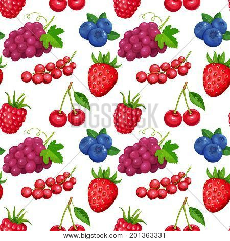 Seamless pattern with berries grapes, currants, blueberries, raspberries and strawberries. Illustration berry in cartoon style.