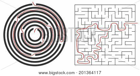 Labyrinths, circular and square labyrinth. Out of the labyrinth. Flat design, vector illustration, vector.