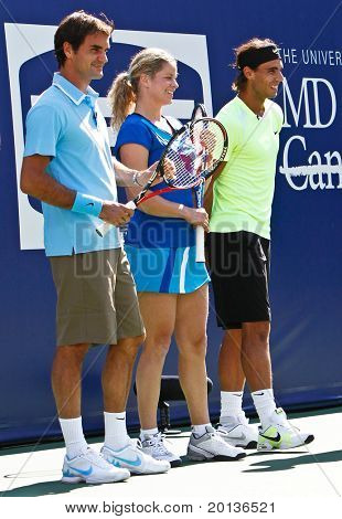 FLUSHING, NY - AUGUST 28: Tennis pros Roger Federer, Kim Clijsters and Rafael Nadal attend Arthur Ashe Kids Day at the Billie Jean King National Tennis Center on August 28, 2010 in Flushing, New York.