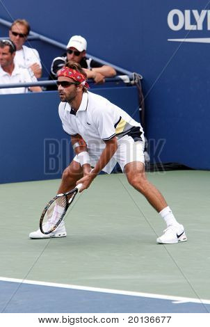 FLUSHING, NY - SEPTEMBER 4: Anaud Clement (FRA) waits for a serve during men's singles at the US Open Tennis Tournament at Billie Jean King National Tennis Center on September 4, 2010 in Flushing, NY.
